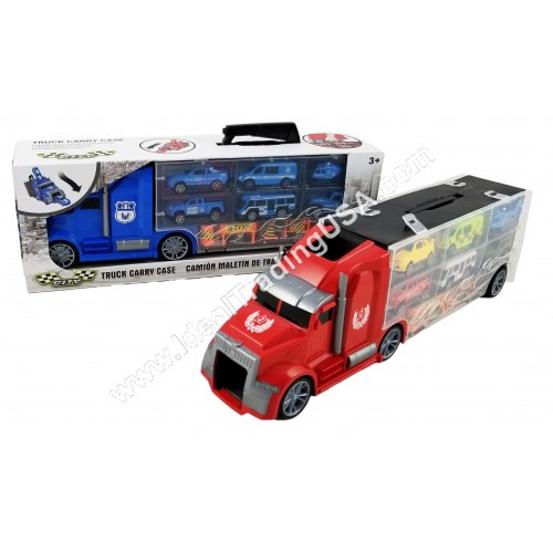 Truck w/ 6 Cars & 4 cones/signs Red/Blue colors (24pcs/Box)