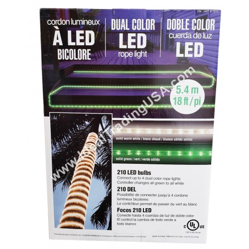 18' WHT/GRN LED ROPE LIGHT (8pcs/box)