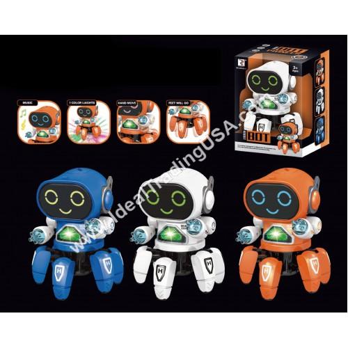 B/O Dancing Octopus Robot Blue/White/Orange (30pcs/Box)